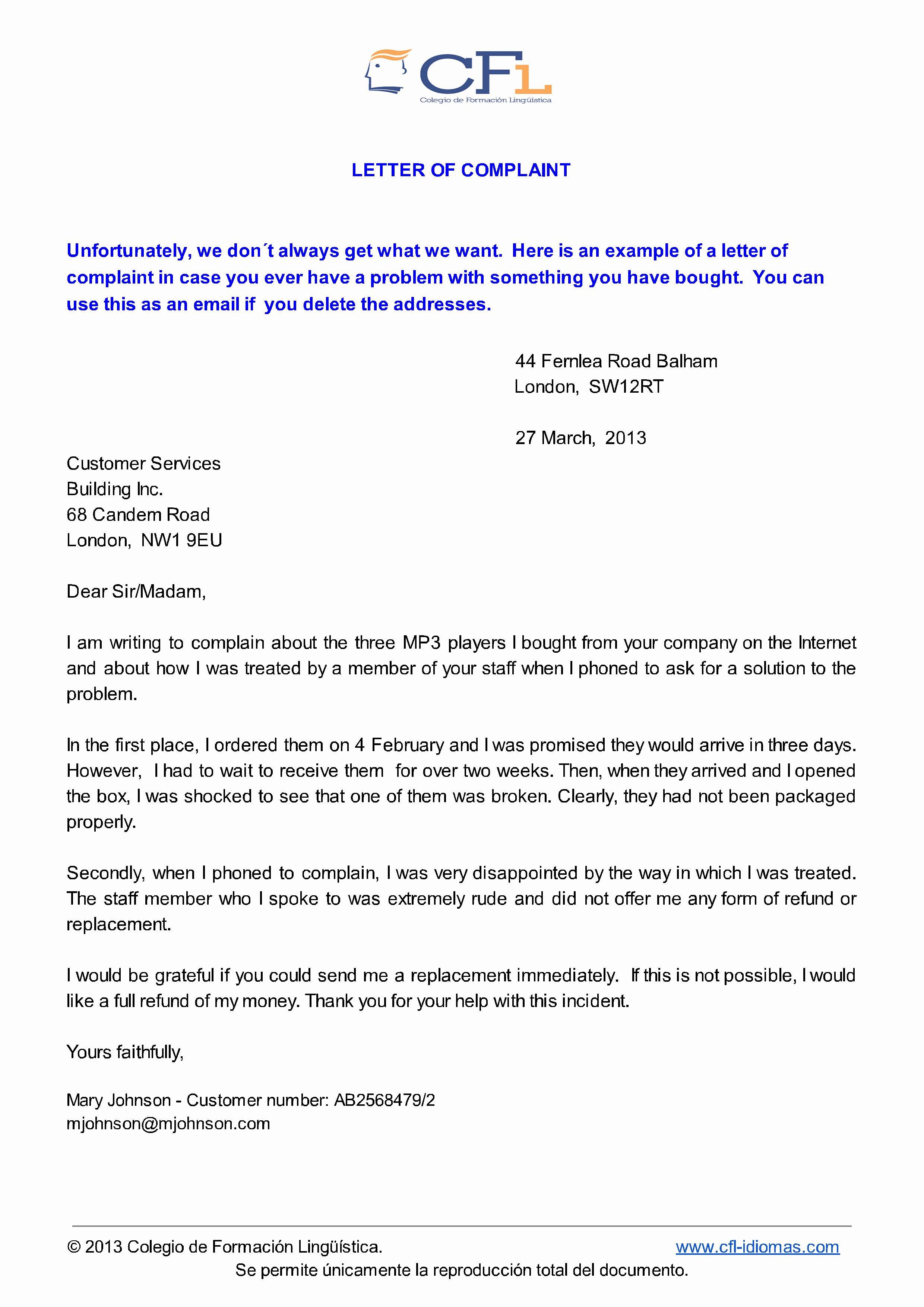 Writing A Complaint Letter Unique Eso Colegio De formación Lingüstica