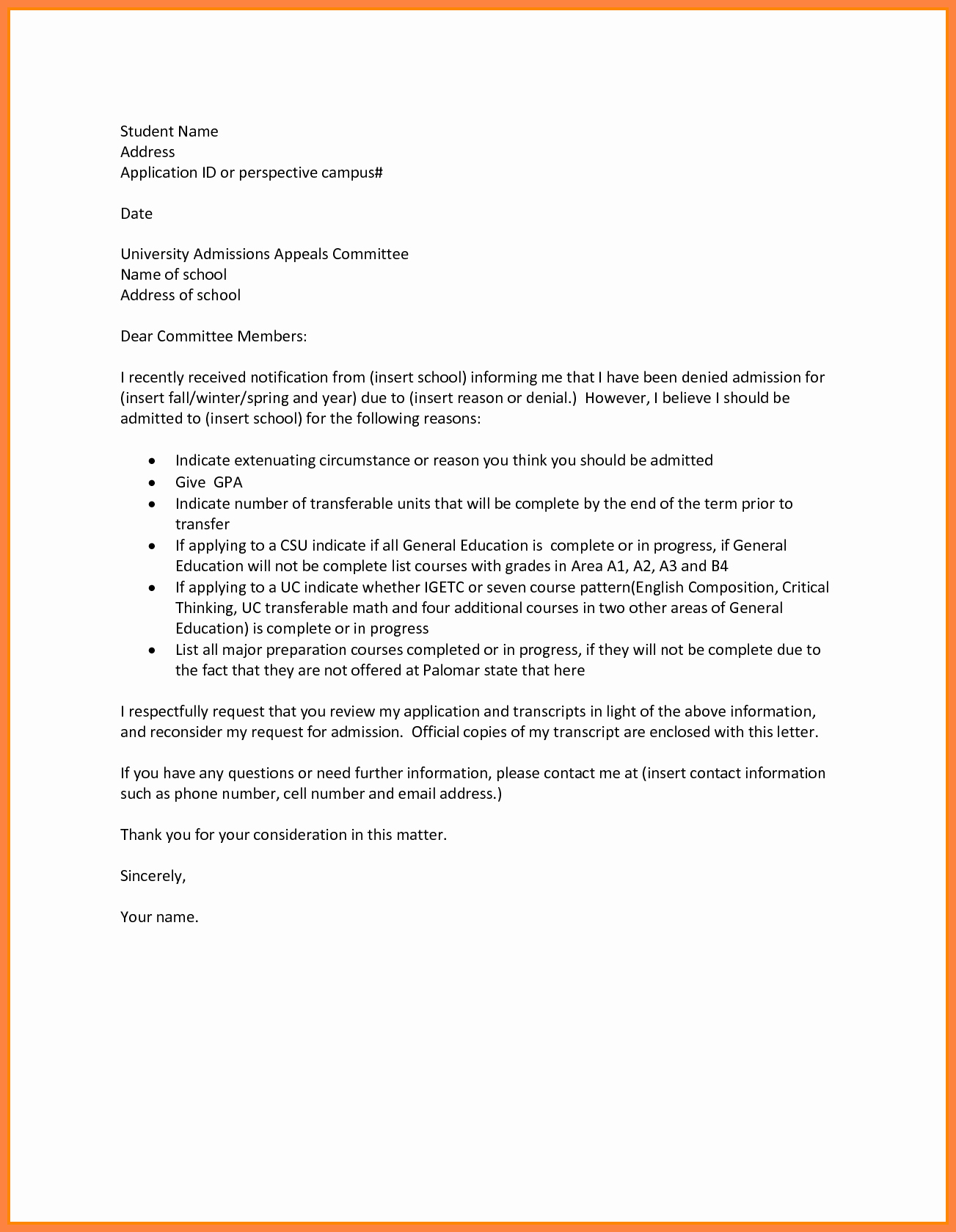 Writing An Appeal Letter Lovely Appeal Letter for College Admission