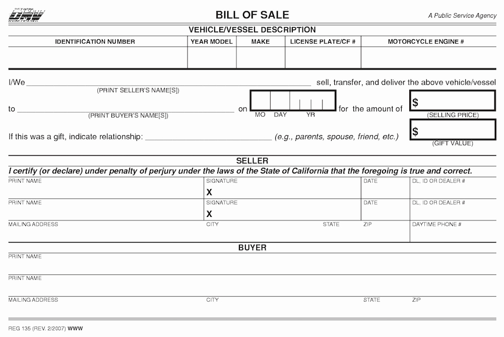 Written Bill Of Sale Lovely How to Gift A Car