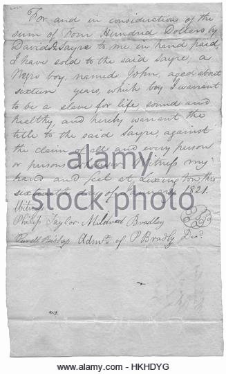 Written Bill Of Sale Luxury Slave Sale Stock S & Slave Sale Stock Alamy