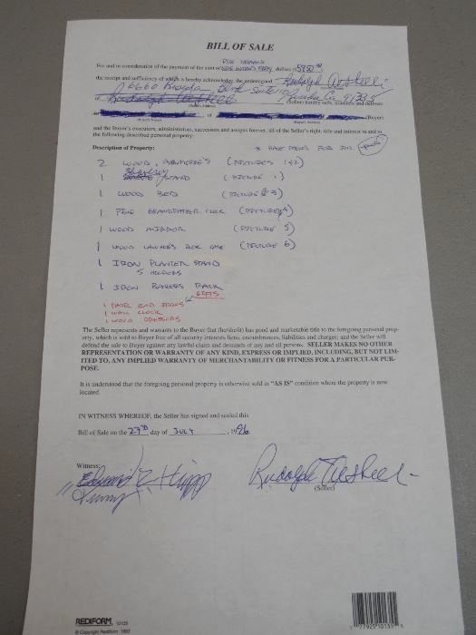 Written Bill Of Sale New Found On Estatesales Net A Hand Written and Signed Bill