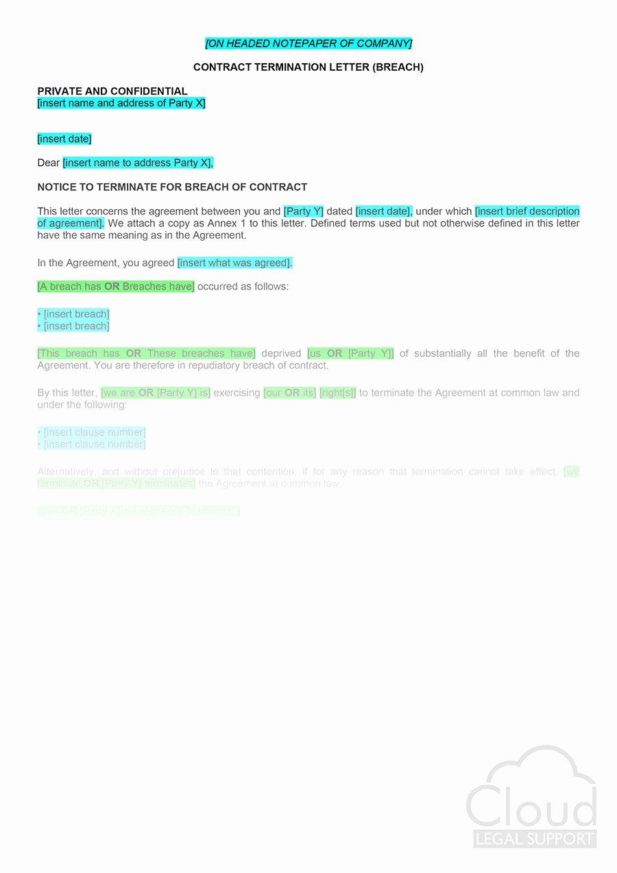Written Notice Of Termination Elegant Contract Termination Letter Breach Cloudlegal Support