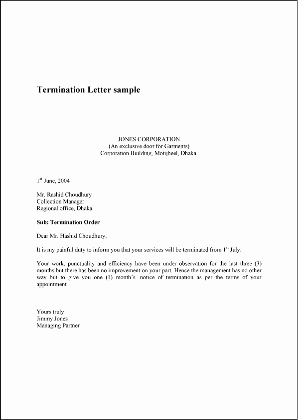 Written Notice Of Termination Fresh Termination Letter