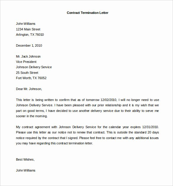 Written Notice Of Termination Luxury Service Contract Termination Letter Template