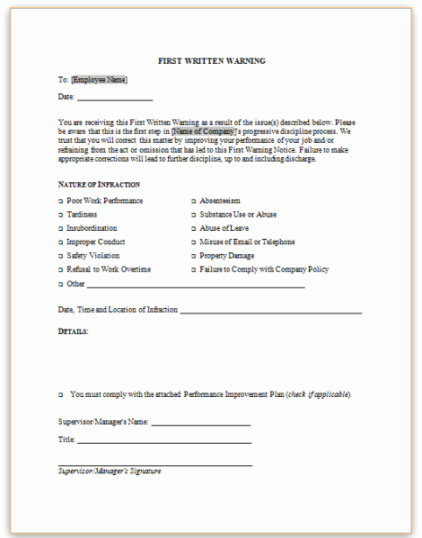 Written Warning Letter Template Inspirational form Specifications