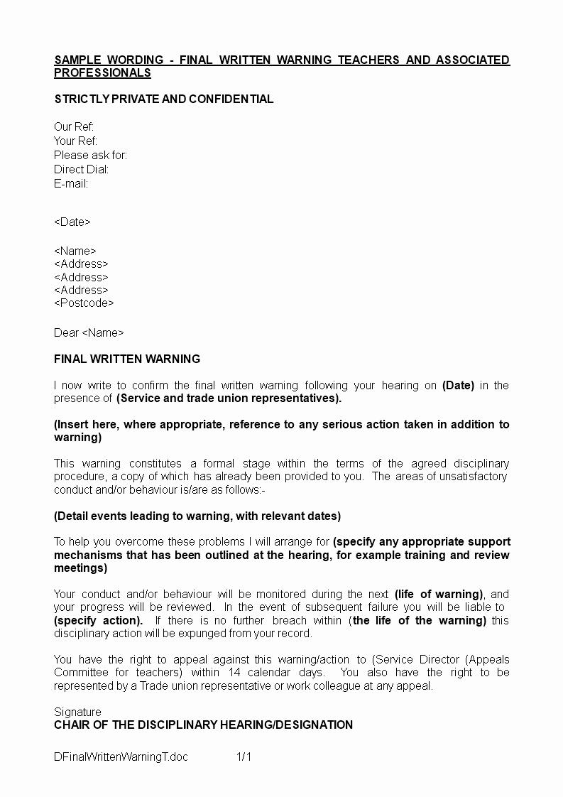 Written Warning Letter Template Luxury Final Written Warning