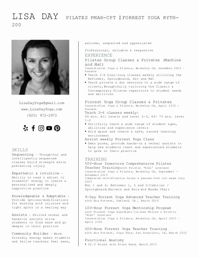 Yoga Teacher Resume Sample Awesome Lisa Day Pilates Resume
