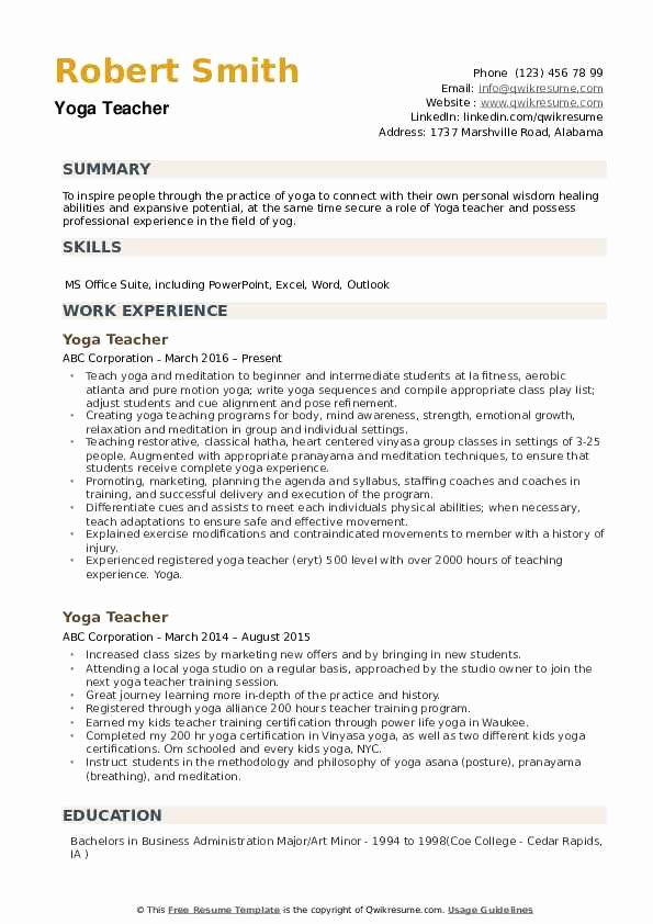 Yoga Teacher Resume Sample Best Of Yoga Teacher Resume Samples