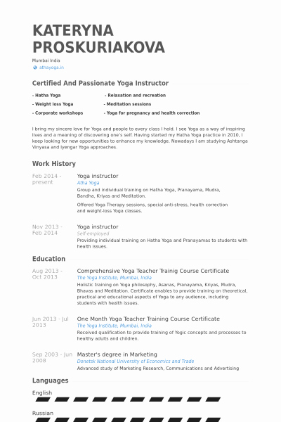 Yoga Teacher Resume Sample Elegant Yoga Resume Template