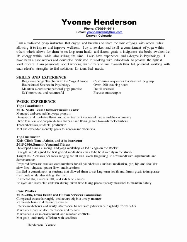 Yoga Teacher Resume Sample Inspirational Yoga Instructor Resume 2016