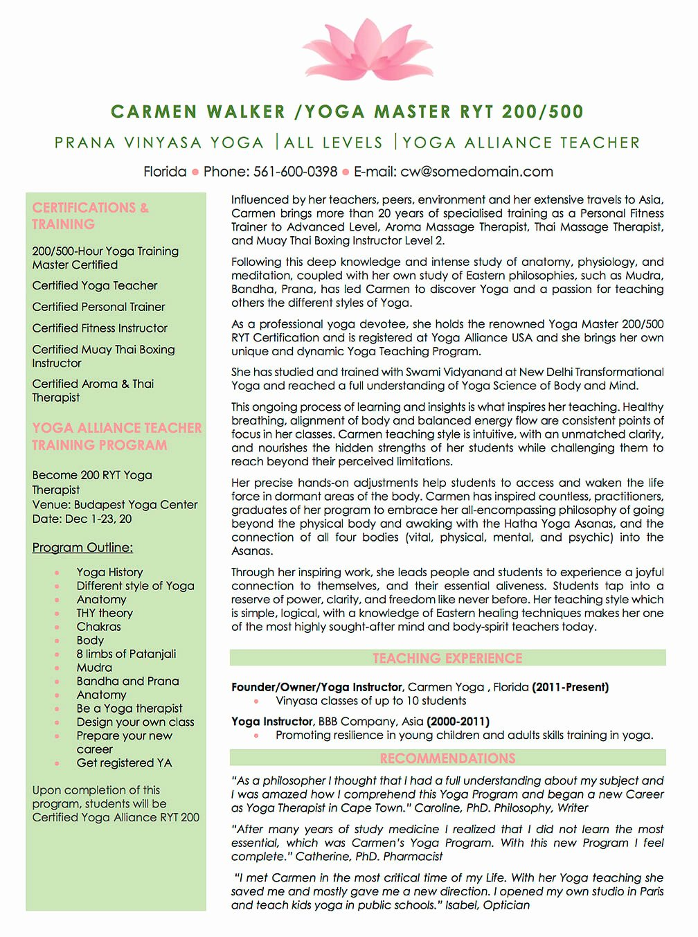 Yoga Teacher Resume Sample Lovely Resume Examples Cv Sample Resume Templates