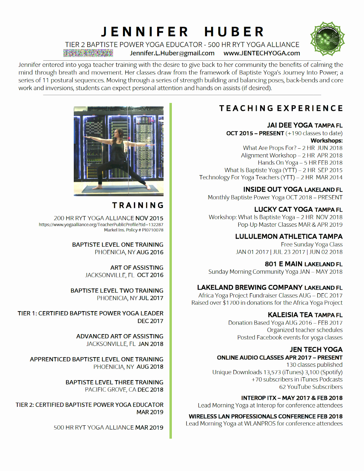 Yoga Teacher Resume Sample Luxury Jen Tech Yoga