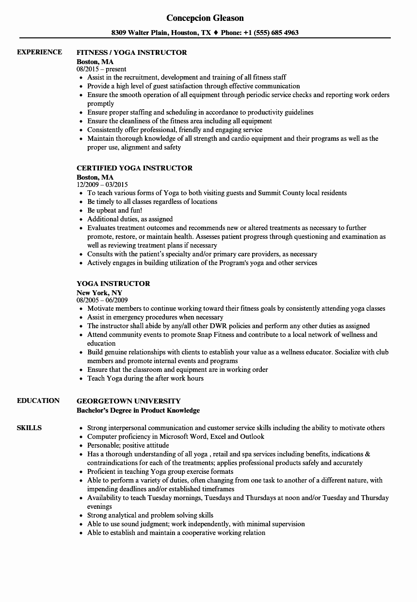 Yoga Teacher Resume Sample New Yoga Instructor Resume Samples