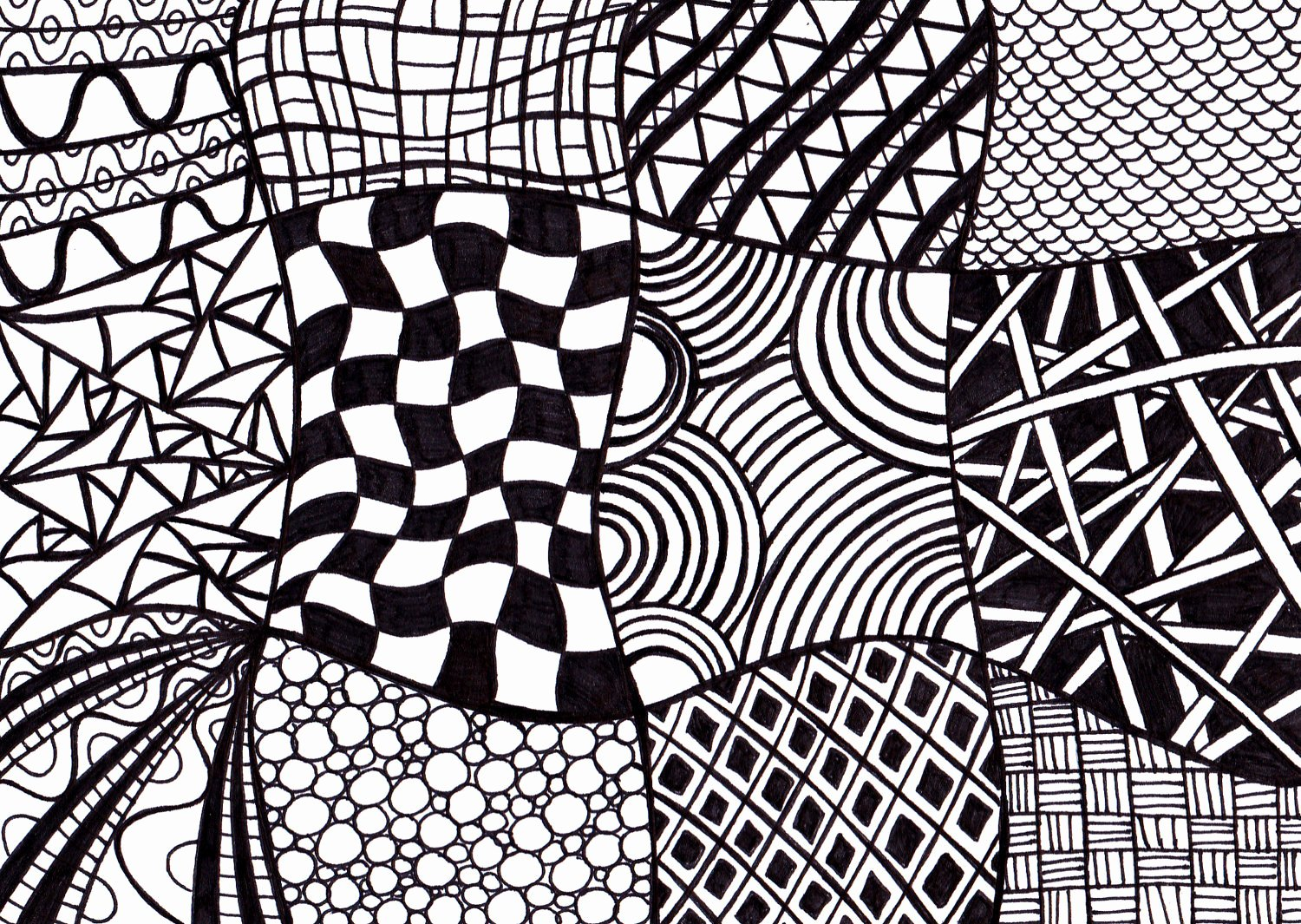 Zentangle Patterns to Print Awesome Black and White Printable Art Zentangle Inspired Ink Drawing
