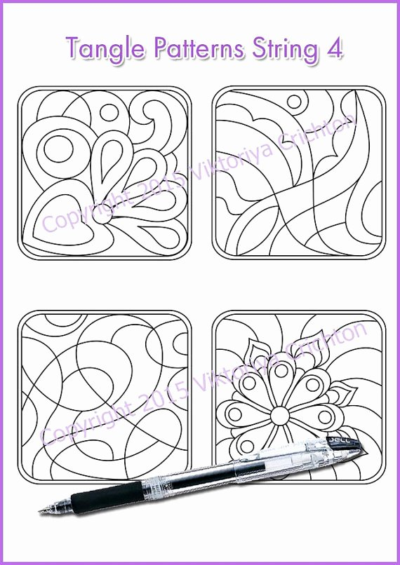 Zentangle Patterns to Print Fresh Strings for Drawing Zentangles Tangle Pattern Printable