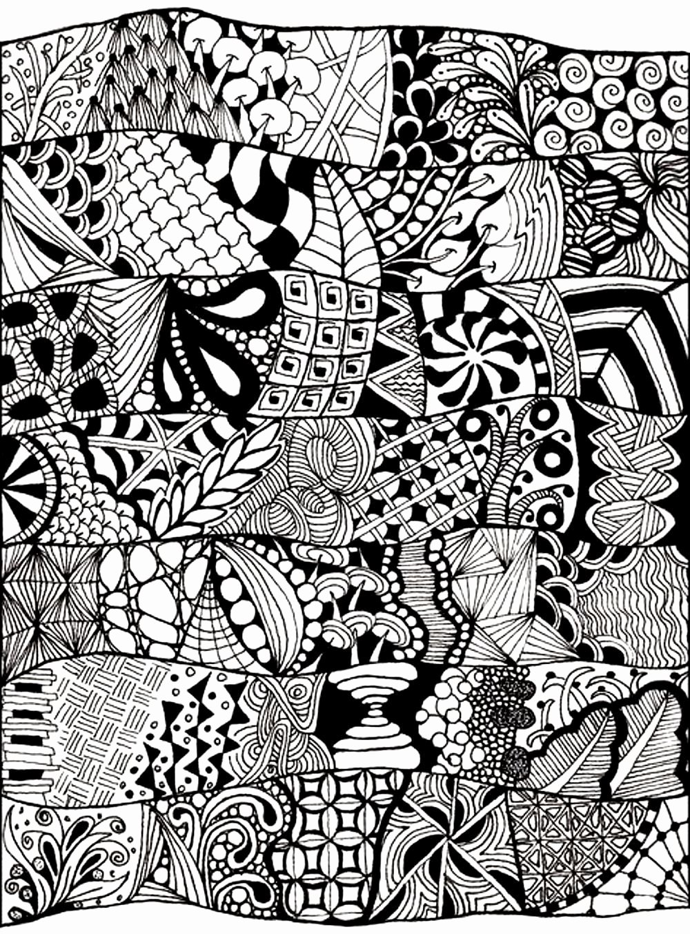 Zentangle Patterns to Print Inspirational Coloring Adult Zen Anti Stress Abstract to Print From the